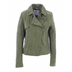HARMONY (REF. 63890) KHAKI - TRENCH INSPIRATED GENUINE GOAT LEATHER JACKET WITH ASYMMETRICAL CLOSURE BY PRESS BUTTONS