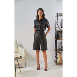 CITY (REF. 63922) BLACK - BERMUDA SHORTS IN GENUINE LEATHER