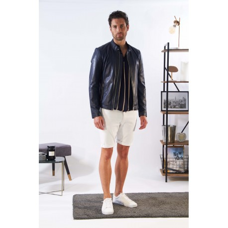 MARKER (REF. 63841) NAVY - GENUINE LEATHER INSPIRED BIKER JACKET