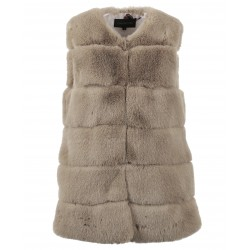 ACT (REF. 63725) TAUPE - GILET SANS MANCHES FAUSSE FOURRURE
