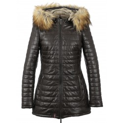 PIPER (REF. 63116) CHOCOLATE - GENUINE LEATHER LONG DOWN JACKET
