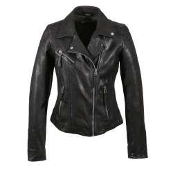 CLIPS (REF. 64095) BLACK - ASYMETRICAL REFINED JACKET IN GENUINE LEATHER