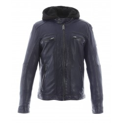 DRINK (REF. 63036) BLACK - LEATHER JACKET WITH REMOVABLE HOOD