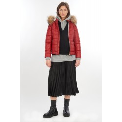 JAM (REF. 64024) FIRE - HOODED GENUINE LEATHER DOWN JACKET WITH REAL FUR