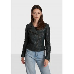 SAMANTHA (REF. 64099) PETROL BLUE - ASYMMETRICAL JACKET IN GENUINE WASHED PATINED LEATHER