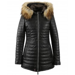 PING (REF. 61809) BLACK -TWO-TONE GENUINE LEATHER LONG DOWN JACKET WITH FAKE FUR