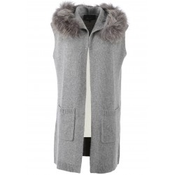 SEPTEMBER (REF. 62146) GREY - WOOL AND CASHMERE HOODED CARDIGAN