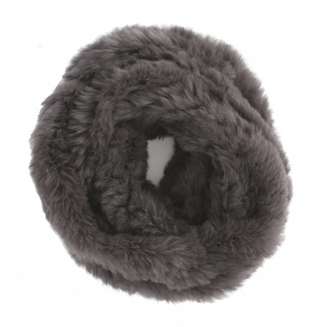 DARK GREY FUR SNOOD