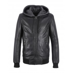 BLACK HOODED LEATHER JACKET