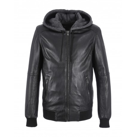 JIMMY (REF. 62061) BLACK - GENUINE LEATHER JACKET WITH REMOVABLE HOOD