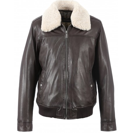 62003 - BROWN LEATHER BOMBER JACKET