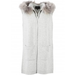 SEPTEMBER (REF. 62146) CLOUDY GREY - WOOL AND CASHMERE HOODED CARDIGAN