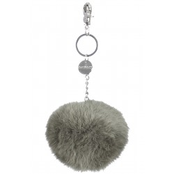 62161 - LIGHT KHAKI KEYRING POMPON RABBIT FUR