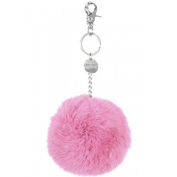 62161 - DARK PINK KEYRING POMPON RABBIT FUR