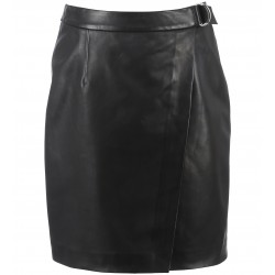 62258 - BLACK LEATHER SKIRT