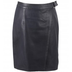 62258 - NAVY BLUE LEATHER SKIRT