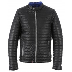 62349 - BLACK LEATHER DOWN JACKET