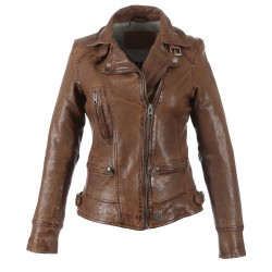 VIDEO (REF. 62065) TAN - WASHED LOOK GENUINE LEATHER JACKET