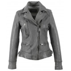 VIDEO (REF. 62065) ANTHRACITE - WASHED LOOK GENUINE LEATHER JACKET