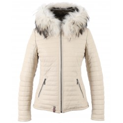 HAPPY (REF. 61677) IVORY - REAL FUR HOODED GENUINE LEATHER JACKET