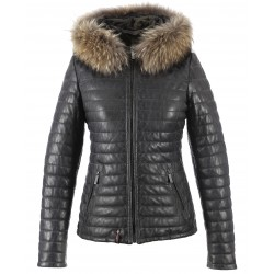 HAPPY (REF. 62666) GREY - TWO-TONE GENUINE LEATHER DOWN JACKET