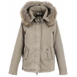 62381 - PARKA CHIARA LIGHT KHAKI CAPUCHE FOURRURE NATUREL