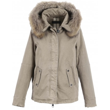62381 - PARKA CHIARA CAPUCHE FOURRURE LIGHT KAKI