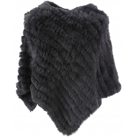 DAVOS (REF. 56034) ANTHRACITE - REAL FUR PONCHO