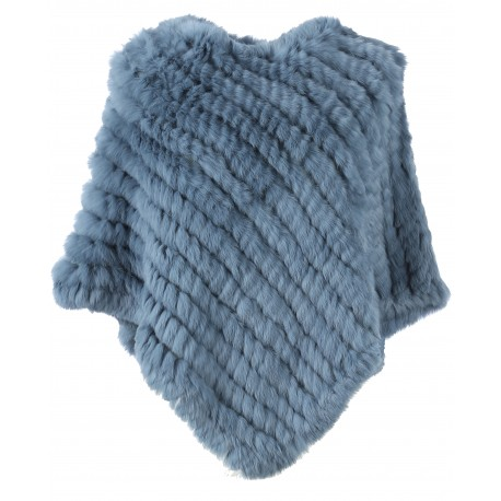 DAVOS (REF. 56034) ICE BLUE - REAL FUR PONCHO