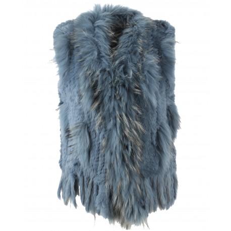 DULCINA (REF. 58725) ICE BLUE - REAL FUR GILET