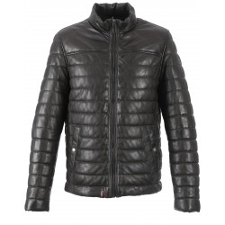 FOOTLOOSE (REF. 62591) KHAKI - TWO-TONE HIGH NECK LEATHER DOWN JACKET