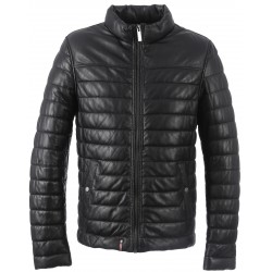 62687 - BLACK LEATHER DOWN JACKET