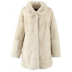 62439 - IVORY REAL FUR COAT LUNA