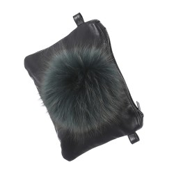FUNKY (REF. 62559) GREEN - LEATHER CLUTCH BAG WITH FUR POMPOM