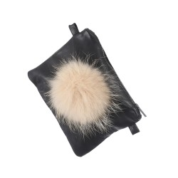 FUNKY (REF. 62559) LIGHT ORANGE - LEATHER CLUTCH BAG WITH FUR POMPOM