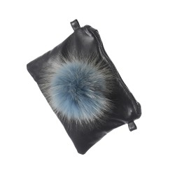 62559 - LEATHER BAG WITH ICE BLUE POMPON FUR