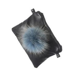 FUNKY (REF. 62559) ICE BLUE - LEATHER CLUTCH BAG WITH FUR POMPOM