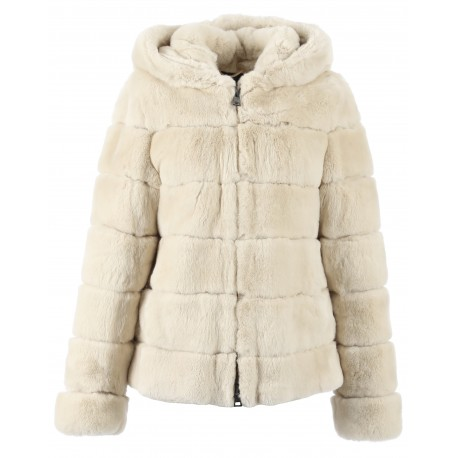 62195 - IVORY REAL FUR JACKET