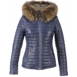 HAPPY (REF. 62666) DENIM - TWO-TONE GENUINE LEATHER DOWN JACKET
