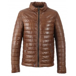 62591 - COGNAC LEATHER DOWN JACKET FOOTLOOSE