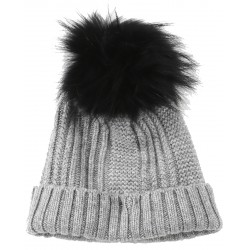 62633 - WOOL BEANIE WITH DARK GREY BOOBLE COOL