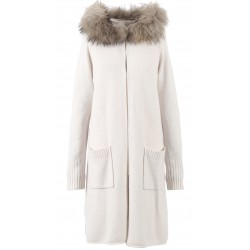 62644 - LONG GILET EN LAINE BEIGE YEAR