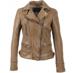 VIDEO (REF. 62065) COGNAC - WASHED LOOK GENUINE LEATHER JACKET
