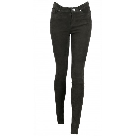 ANTHRACITE JEANS TROUSERS STRETCH SUEDE