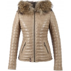 HAPPY (REF. 62666) DARK BEIGE- TWO-TONE GENUINE LEATHER DOWN JACKET