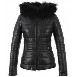 JELLYTA (REF. 63113) BLACK - HOODED GENUINE LEATHER DOWN JACKET WITH FUR