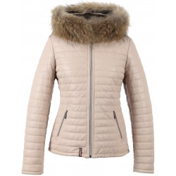HAPPY (REF. 61677) LIGHT PINK - REAL FUR HOODED GENUINE LEATHER JACKET