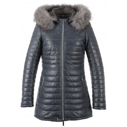 62592 -BLUE LEATHER DOWNJACKET POPPING
