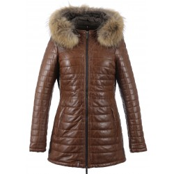 62592 - COGNAC LEATHER DOWNJACKET POPPING