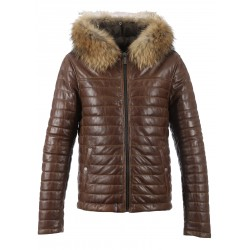 AURELIEN (REF. 63109) COGNAC - TWO-TONE GENUINE LEATHER DOWN JACKET WITH REAL FUR HOOD TRIM